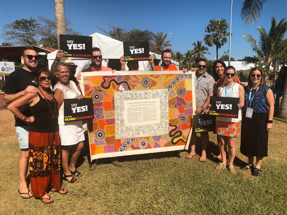 Federation Executive and Secretariat with Thomas Mayor and the Uluru Statement at the National Native Title Conference in Broome, June 2018.