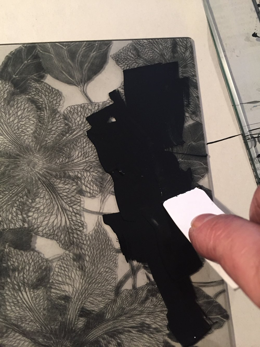 Inking a drypoint plate