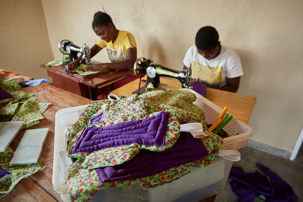 Sanitary pad production line