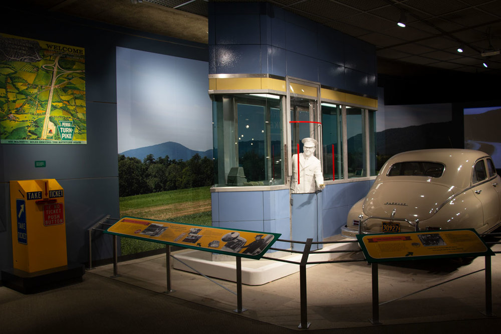 - BRH constructed a large faux concrete pad for the tollbooth to sit on once it was installation in the museum. The I-beams and interior framing were tied into the steel above the ceiling of the exhibit gallery.