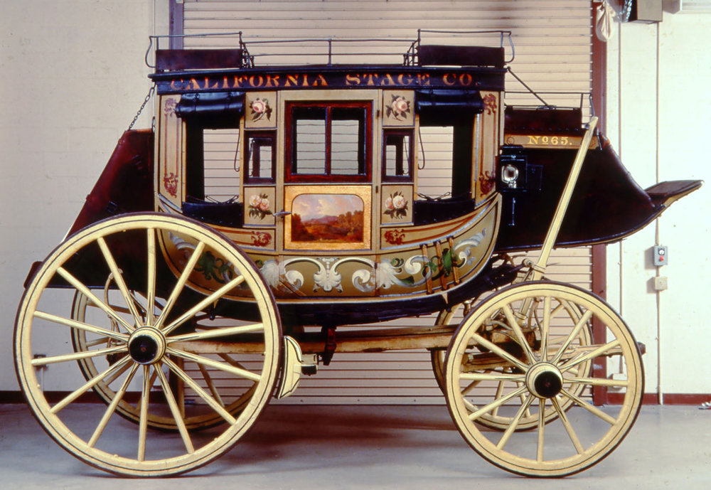 After: stagecoach with varnish layers removed and areas of loss reproduced