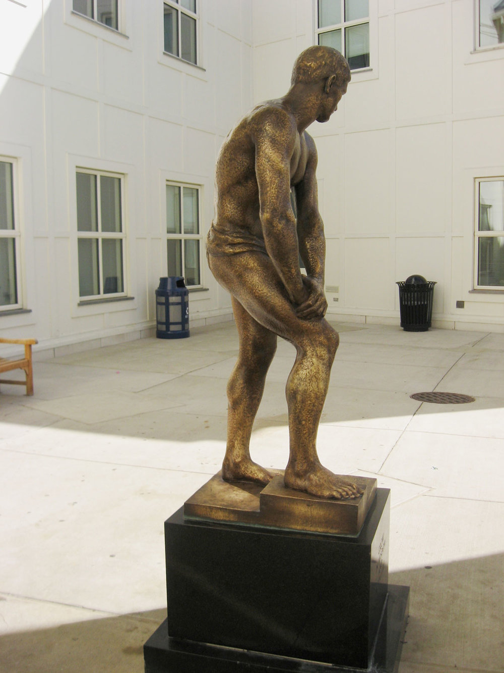 Bronze sculpture loses original finish after abrasive cleanings.