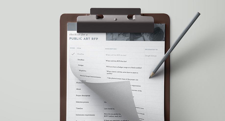 Free public art rfp checklist - Looking to grow your public art collection? Getting ready to write an RFP? Download our Public Art RFP checklist to make sure you get the most out of your artist responses.