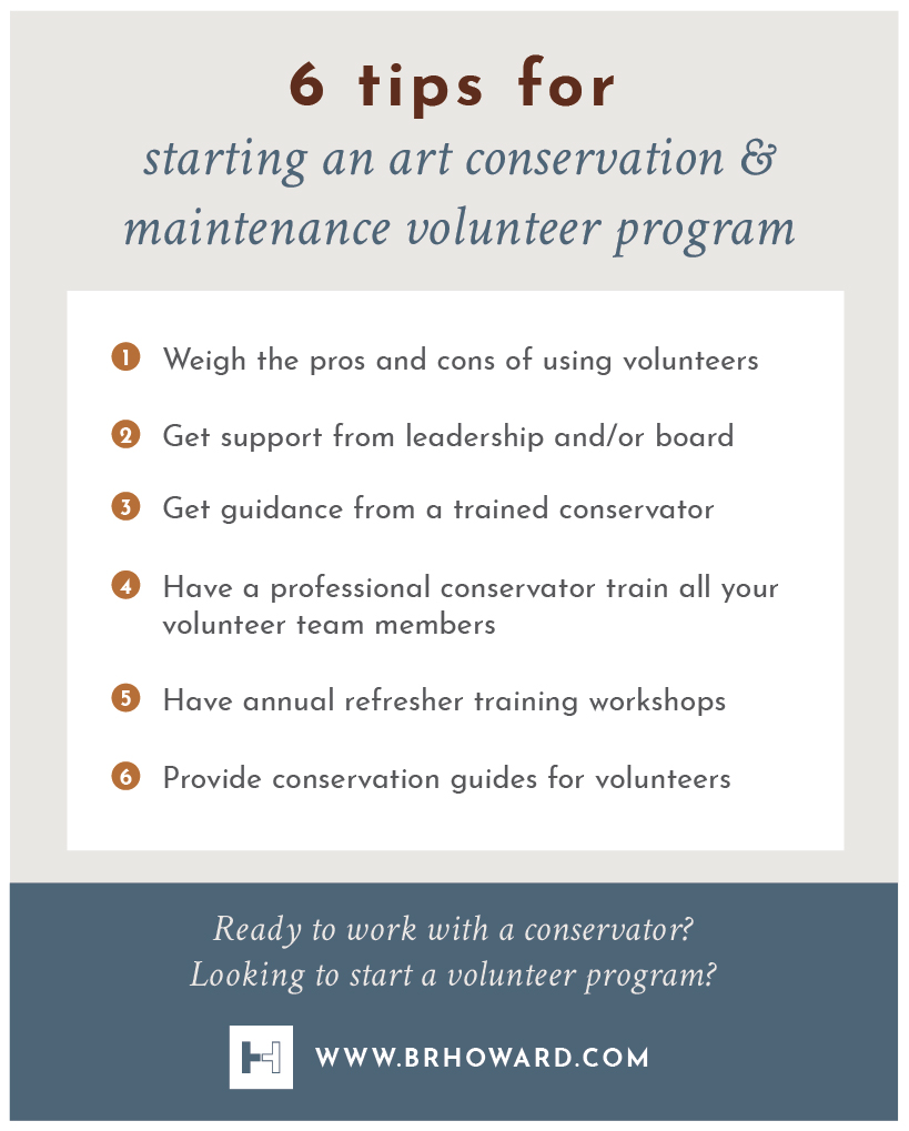 Click image for larger view .  Infographic: Tips for starting a volunteer art conservation and maintenance program.