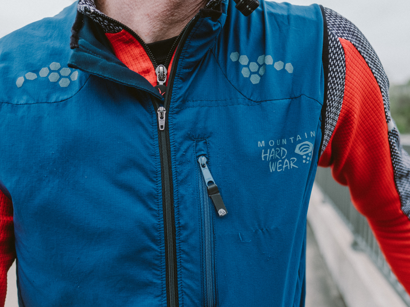 """Mountain Hardwear Vest: """"This wind vest is really functional. It folds into its own mesh pocket and fits under my cycling jersey if I need to wad it up.""""  No longer available; comparable vests start at $59.95."""
