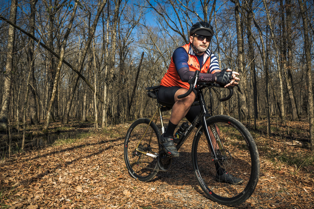Shannon Sanders on his All-City Cosmic Stallion on the Yellow Loop Trail in Burns Park in North Little Rock.  PHOTOGRAPHY: RETT PEEK