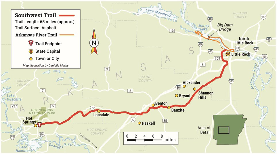 The 60-mile Southwest Trail would connect Pulaski, Saline and Garland counties. When complete, the Delta Heritage Trail will stretch almost 90 miles in East Arkansas.