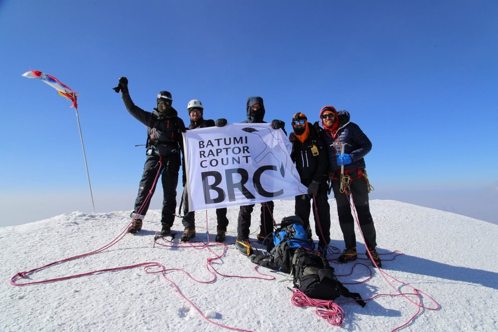 The BRC flag at the summit of Mount Kazbegi. Photo by Brecht Demeulenaer.