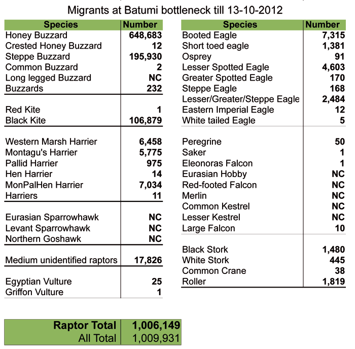 Migrants counted up to the 13th of October. NC = not counted