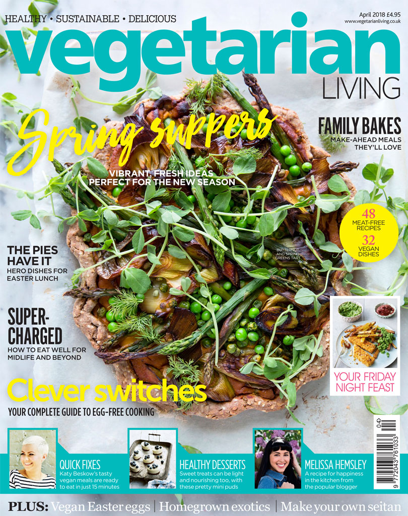 A front cover for Vegetarian Living April! Always a thrill to see your image on the shelves! Food styling by the wonderful  Katy McClelland