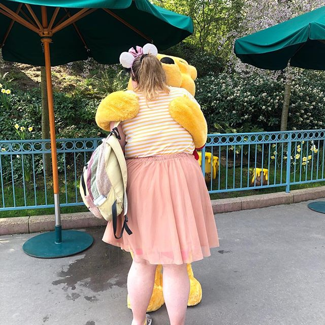 Winnie the Pooh has been my favourite Disney franchise since I was a little girl. He was my first & only love, and I'm not ashamed to admit I nearly cried. 23 years of waiting for this moment, and it couldn't have been more perfect (top from @primark & skirt from @asos_loves_curve) . . . #disney #disneylandparis #dlp #disneyootd #winniethepooh #charactermeet #plussizefashion #plussize #plussizeblogger #plussizeblog #effyourbeautystandards #shinyhappybloggers #disneymagic #psblogger #psblog #psfashion #fatandhappy