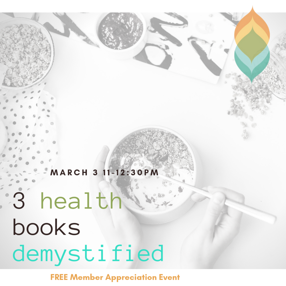 """NEXT EVENT:2019 Spring: 3 Health & Wellness Books Demystified - Sun., March 3rd from 11 - 12:30PMWe read the books, sampled the recipes and now we'll share what we learned with you.+ """"Medical Medium"""" by Anthony William+ Liver Rescue"""" by Anthony William""""How Not to Die"""" by Michael GregorJoin Sonia for take-aways from each book, samples of our favorite recipes, and discussions of some of the key ideas. We'll also enjoy an easy digestive-stoking restorative yoga flow.RSVP to sonia@twist-yoga.comLimited to 28"""
