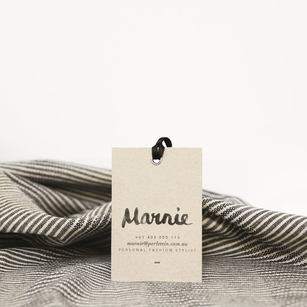Black and white hand-drawn logo design and stationery for fashion stylist