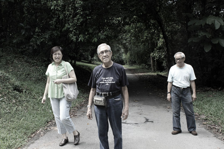 My mother, my grandfather and Uncle Smarty at Bukit Brown in 2011.