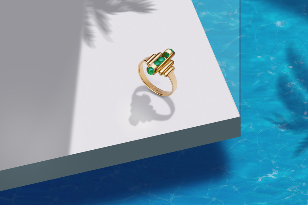 ZEEMOU ZENG-MELODY RING 18 CT YELLOW GOLD  EMERALD .jpg