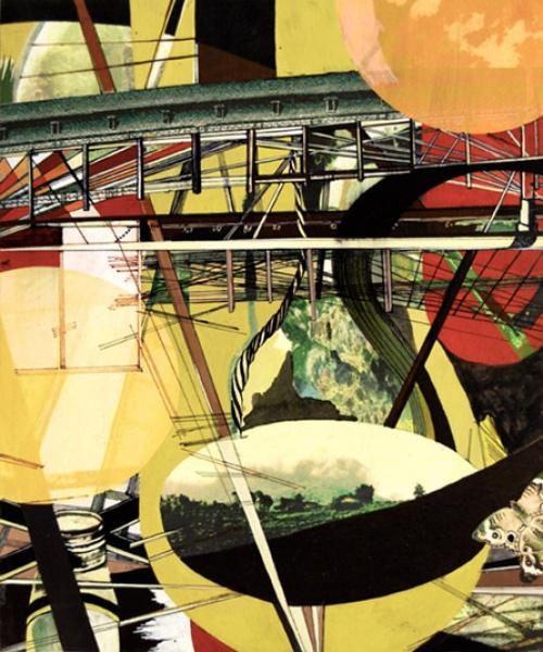 "Bridge , gouache, digital ink, mixed media on paper mounted on panel, 13 x 11"""