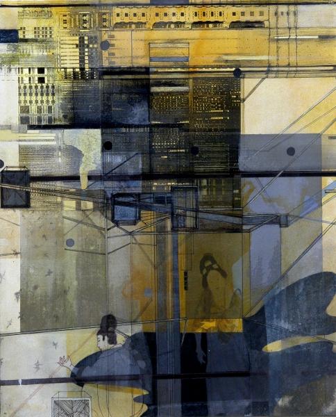 "Hooka , gouache, digital ink, mixed media on paper mounted on panel, 13 x 11"""