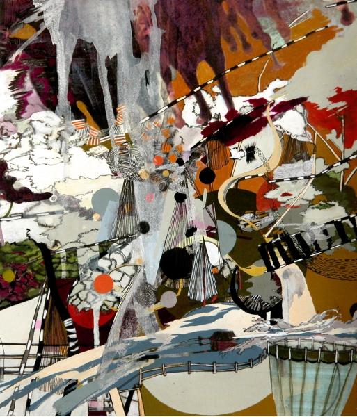 "Splash,  gouache, digital ink, mixed media on paper mounted on panel, 13 x 11"""