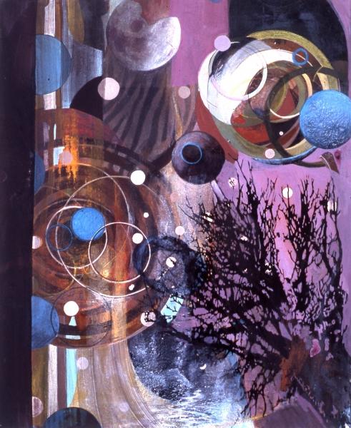 "Baobob , gouache, digital ink, mixed media on paper mounted on panel, 13 x 11"""