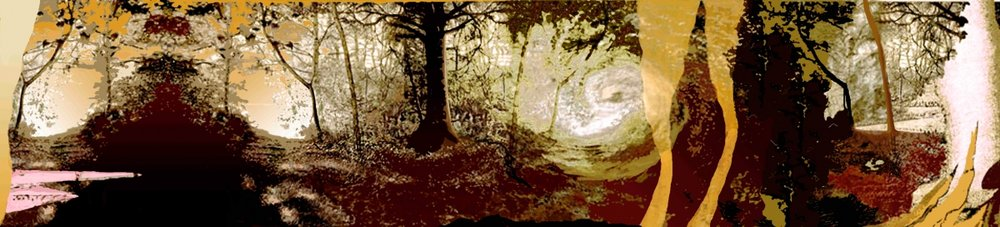 """Clearing, gouache, pigmented print, mixed media on paper, 13 x 60"""""""