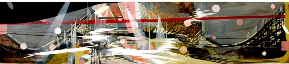 """Thunderbolt, gouache, pigmented print, mixed media on paper, 13 x 60"""""""