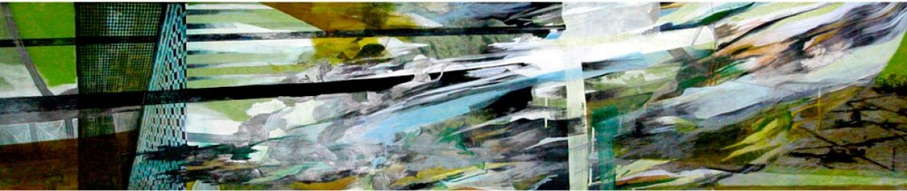 """St. Helen, gouache, pigmented print, mixed media on paper, 13 x 60"""""""