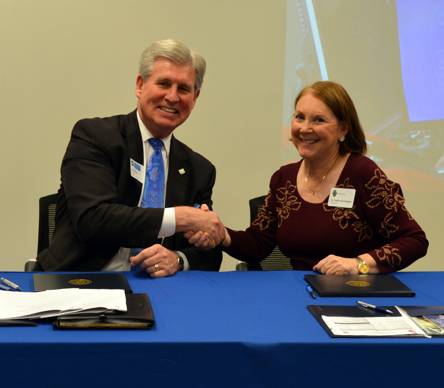Northwood University President Keith A Pretty and St. Clair County Community College President Deborah Snyder