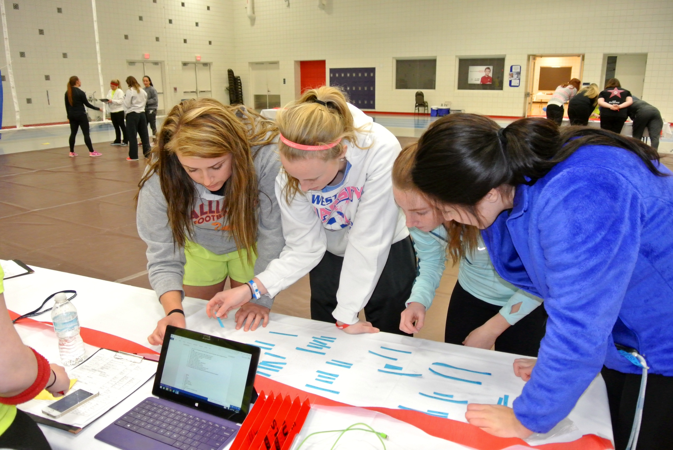 Northwood students Mckenzie Gohn, Shannon Brown, Savannah King and Haley Rusicka compete in the St. Jude  Trivia Challenge at the Up 'til Dawn event.