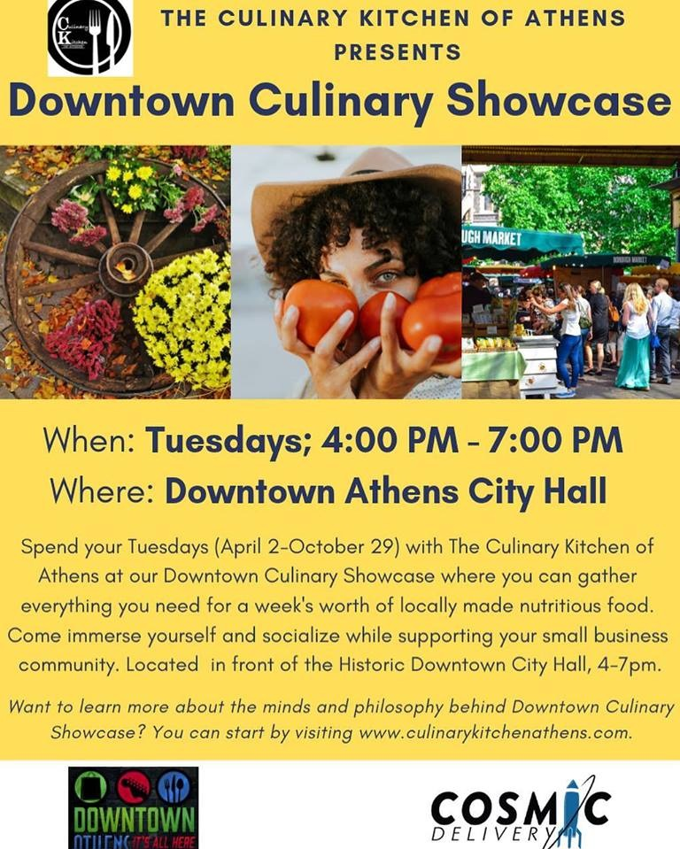 The Culinary Kitchen - Join The Culinary Kitchen of Athens for their Downtown Culinary Showcase! Tuesdays from 4:00 to 7:00 at City Hall you can find locally made nutritious food. Support our local food vendors by coming out to shop and network!