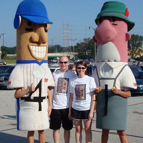 Hanging out with the Brewers' racing sausages!