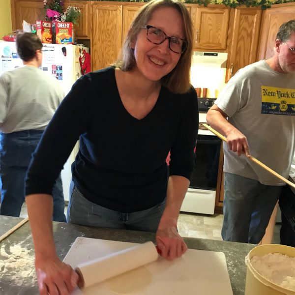 Nancy making lefse at her Mom's