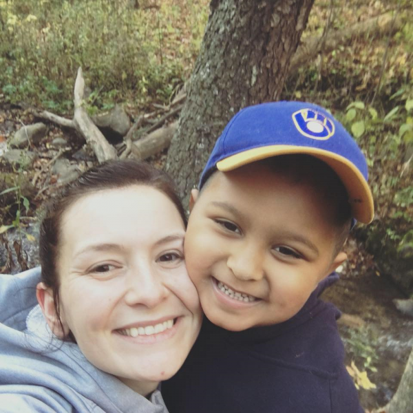Carter hiking with Aunt Mollie