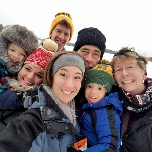 Michael's family having fun in the snow