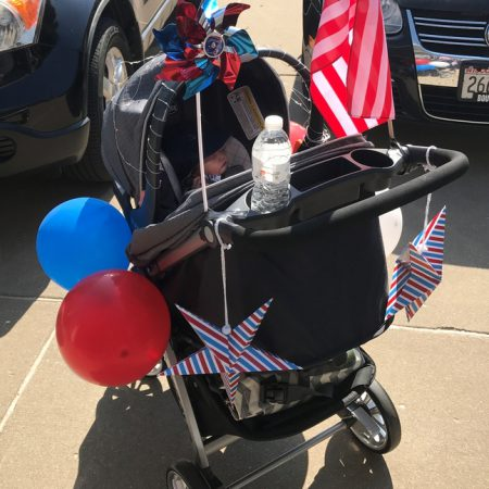 Ben's stroller got festive for the 4th of July parade