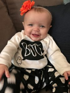 Ella is getting in the spirit of Halloween, ready to celebrate her first of this sweet holiday! We are glad to see Ella's development as she gets cuter with every passing day.