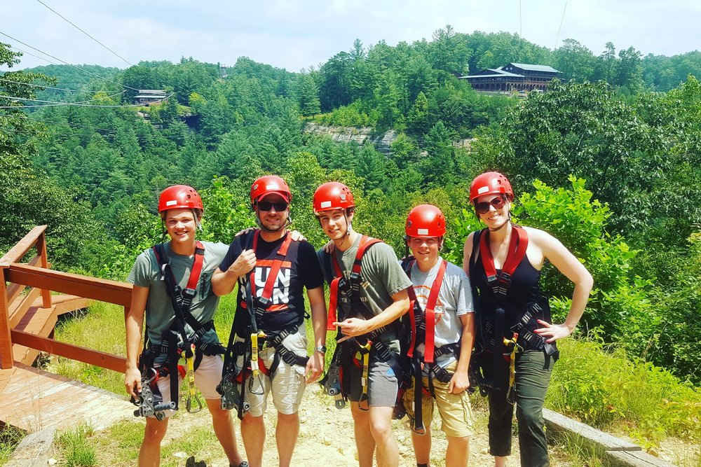 we had a blast ziplining with laura's cousins at a family reunion