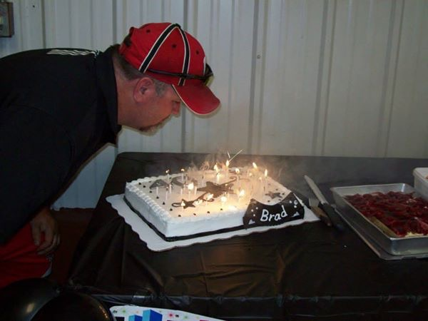 happy birthday to brad..little did he know the candles kept relighting!