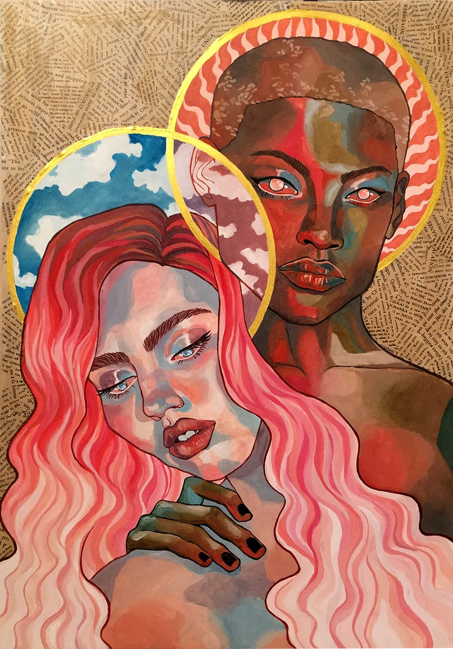 """The Sun and the Sky,"" Gouache and screentone on paper, 2018"