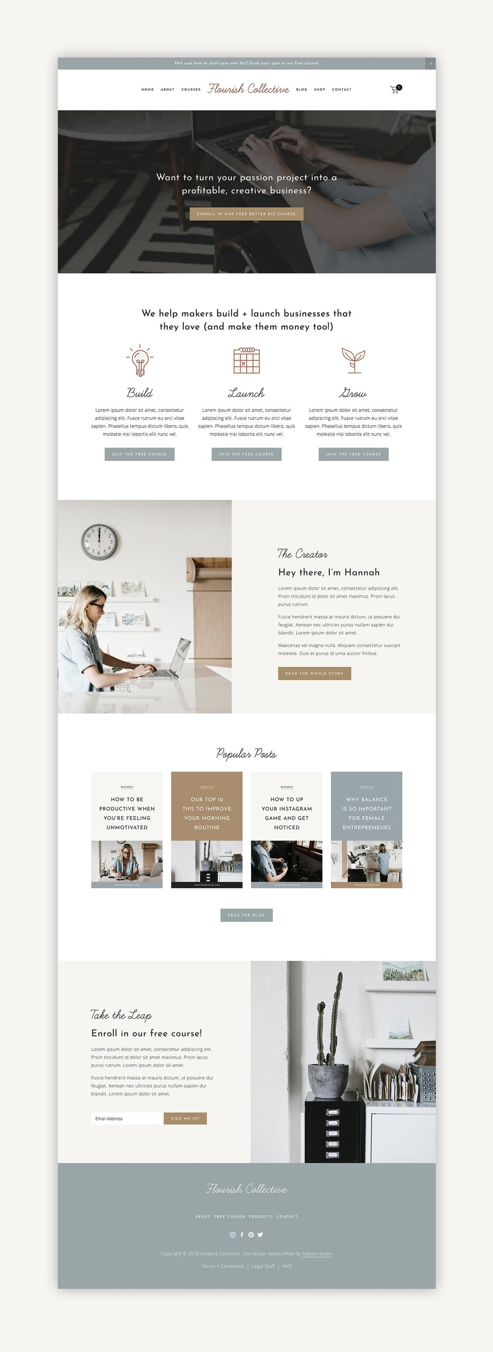 Squarespace Templates | Flourish Squarespace Kit Station Seven Squarespace Templates