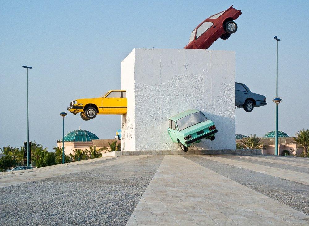 Sculpture: 'The Accident', by Julio La Fuente on the Corniche in Jeddah