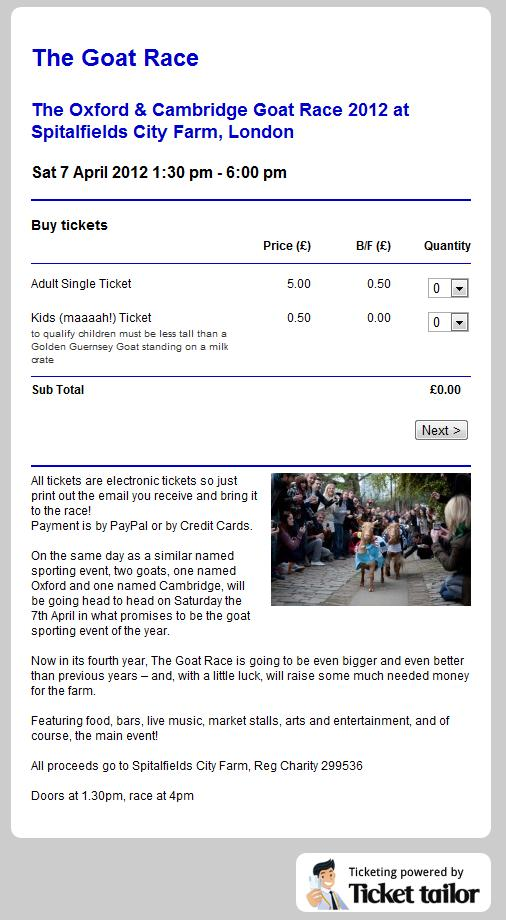 The Oxford and Cambridge Goat Race Digital Tickets