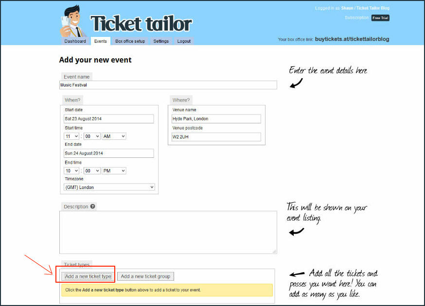 Ticket Tailor Event Setup