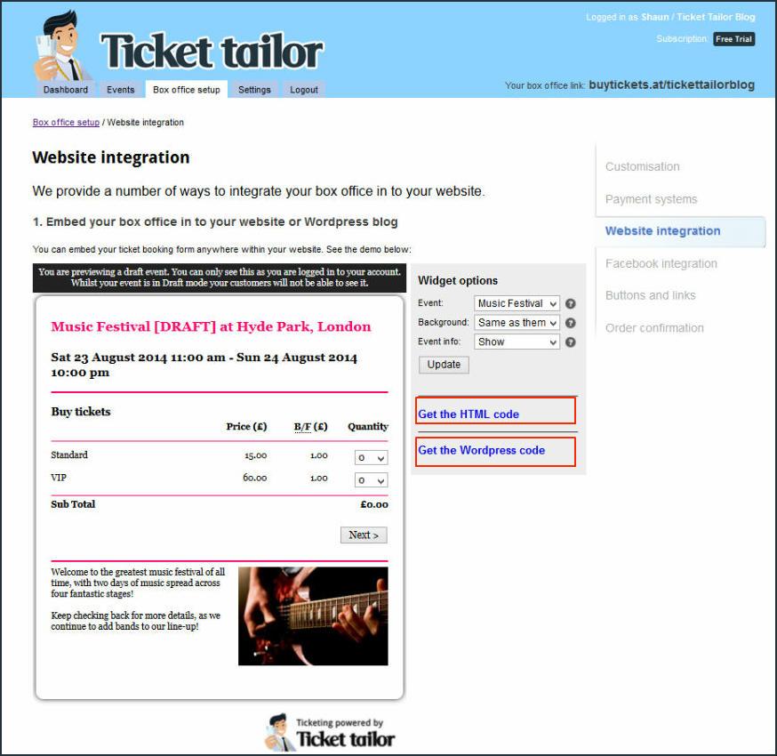 Ticket Tailor Screenshot