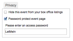 Password protect event page