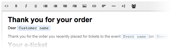 Customise e-tickets