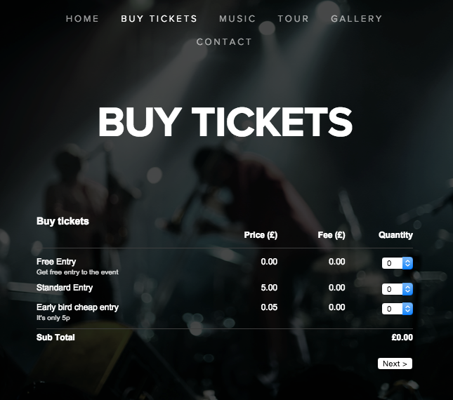 Squarespace site with ticket widget