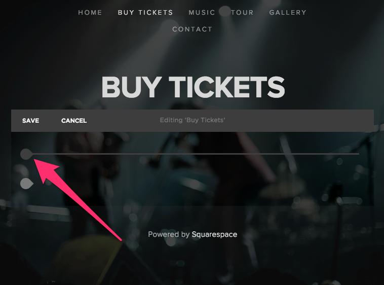 Squarespace add ticket widget stage 1