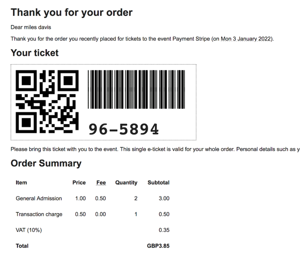 - Example order confirmation with single ticket voucher for multiple tickets
