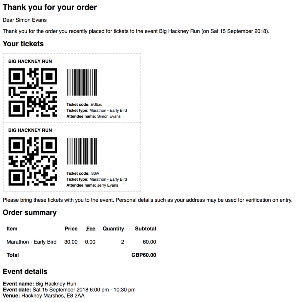 - Example order confirmation with multiple ticket vouchers for multiple tickets