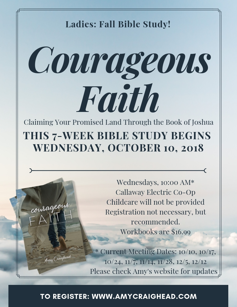 Fall Bible Study, Fulton, MO - We will meet the following dates, fall 2018; any changes will be reflected here.October 10, 17, 24November 7, 14, 28December 5, 12Callaway County Electric Cooperative,Fulton, MO10:00 AM (click for map)Workbooks are $16.99 | Available on Amazon (here) or at Bible study.